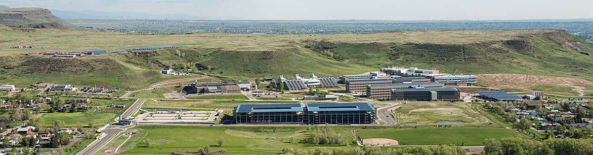 Aerial photo of the National Renewable Energy Laboratory in Golden, Colorado.